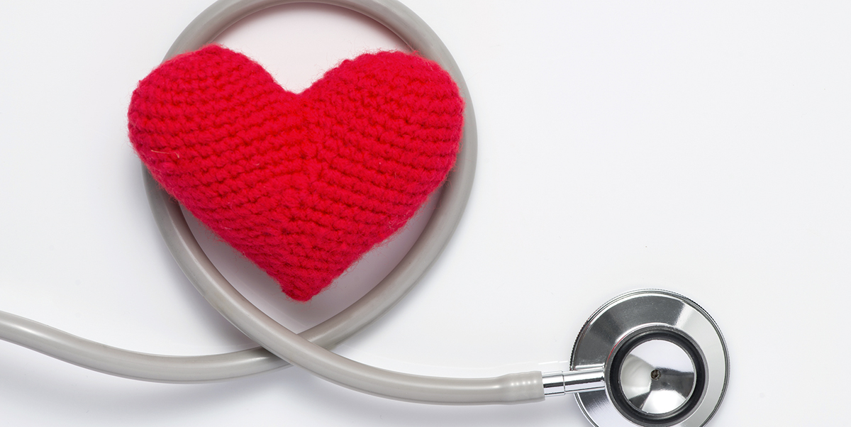 crochet heart and stethescope